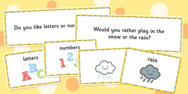 Circle Time Choice Cards - visual, choices, activity, activities