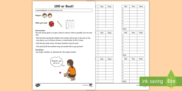 100 or Bust! Maths Game - Maths Games, place value, dice, closest to 100, score, competition
