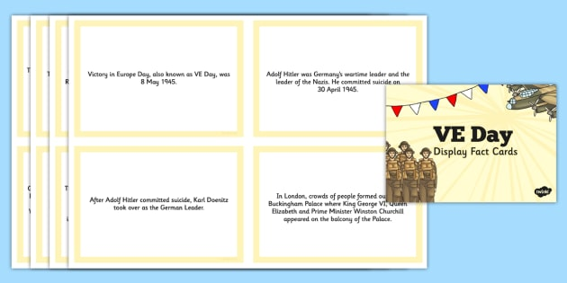 VE Day Display Fact Cards - ve day, display, fact, cards, europe