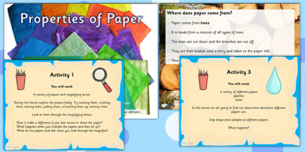Properties of Paper Materials Task Setter PowerPoint Activities
