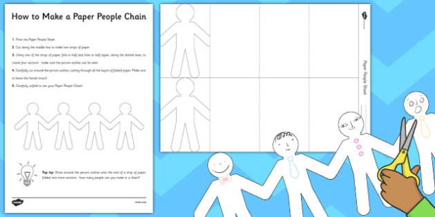 Paper People Sheet - paper people, sheet, paper, people, paper chains
