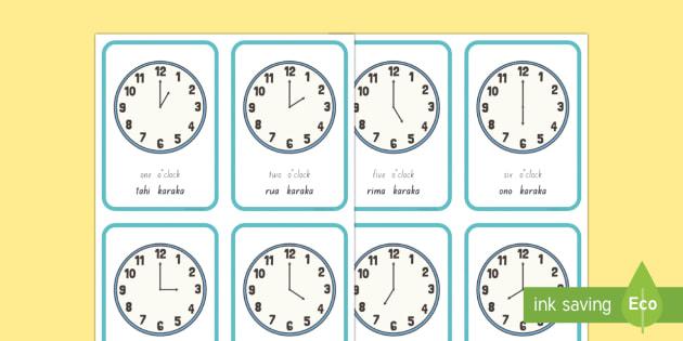 The hour clock Flashcards - karaka, matawa, clock, hour, time, wā