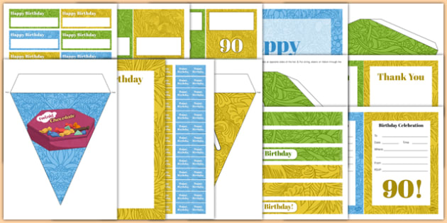 90th Birthday Party Pack - 90th birthday party, 90th birthday, birthday party, pack