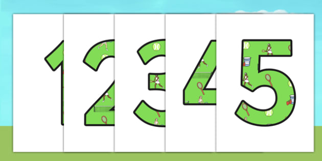 Wimbledon Themed Display Numbers - sports, pe, tennis, sport