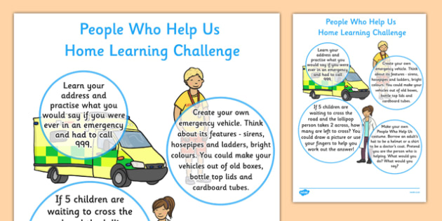 People Who Help Us Home Learning Challenge Sheet Nursery FS1 - EYFS planning, Early years activities, homework activities, people who help us