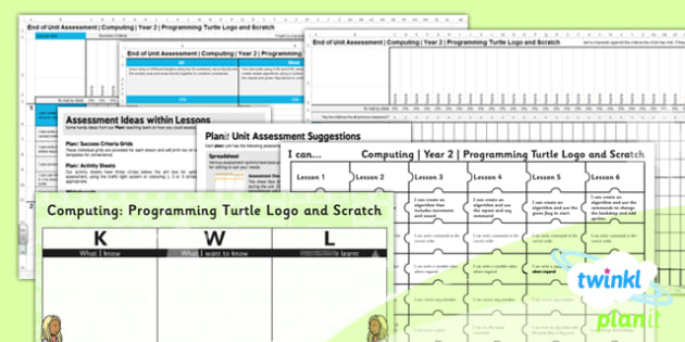Computing: Programming Turtle Logo and Scratch Year 2 Unit Assessment Pack