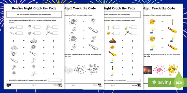 Bonfire Night Crack the Code Activity