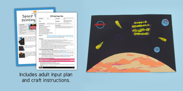 Space Themed Printing Picture Craft EYFS Adult Input Plan And Resource Pack