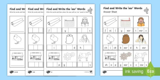 Find and Write the ear Words Differentiated Activity Sheet Pack, worksheet