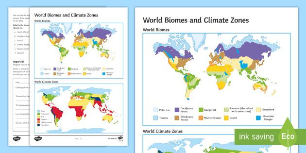 World Biomes And Climate Zones Map Activity Sheet Secondary