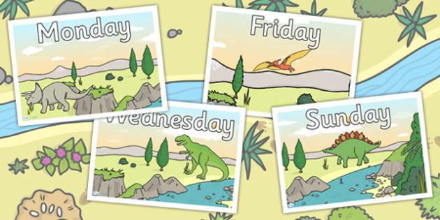 Dinosaur Themed Days of the Week Posters - dinosaurs, calendar
