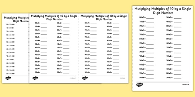 Multiplying Multiples of 10 by 1 Digit Numbers A5 Activity Sheet - multiplying, multiples, 10, 1 digit, numbers, activity, sheet, worksheet