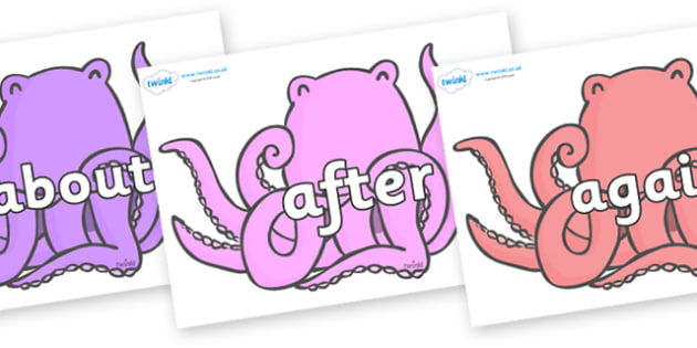KS1 Keywords on Octopus to Support Teaching on The Rainbow Fish - KS1, CLL, Communication language and literacy, Display, Key words, high frequency words, foundation stage literacy, DfES Letters and Sounds, Letters and Sounds, spelling
