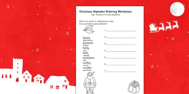 Christmas Alphabet Ordering Worksheet Romanian Translation - romanian, christmas, alphabet, ordering, worksheet