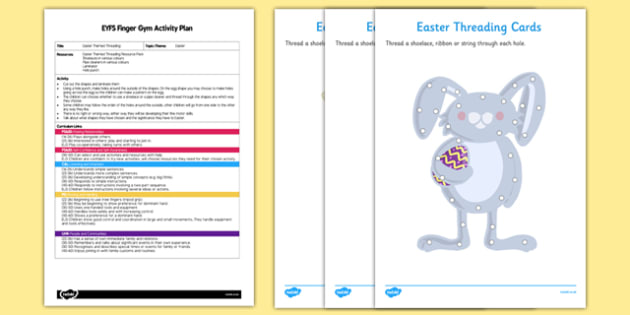 EYFS Easter Themed Threading Finger Gym Plan and Resource Pack - Easter, finger gym