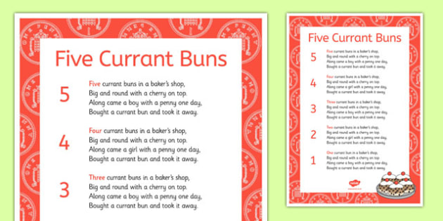 Five Currant Buns Nursery Rhyme Sheet - five currant buns, nursery rhyme, sheet