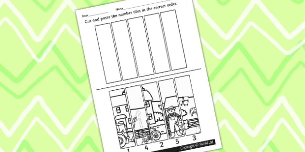 Farm Number Sequencing Puzzle - numbers, counting, games, maths