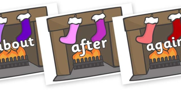 KS1 Keywords on Fireplace & Stockings - KS1, CLL, Communication language and literacy, Display, Key words, high frequency words, foundation stage literacy, DfES Letters and Sounds, Letters and Sounds, spelling