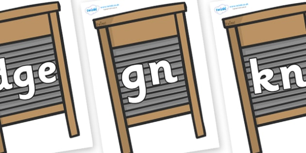 Silent Letters on Washing Boards - Silent Letters, silent letter, letter blend, consonant, consonants, digraph, trigraph, A-Z letters, literacy, alphabet, letters, alternative sounds