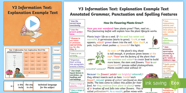 Y3 Information Texts: Explanation Model/Example Text - Example Texts, Y3, explanation, genre, WAGOLL, exemplar, non-fiction, text, information, chronologic, ARE, age-related example, model, model text, age-related model
