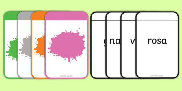 Spanish Colour Matching Flashcards - spanish, colour, matching, match, flash cards, flashcards