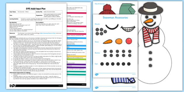 Build a Snowman Game EYFS Adult Input Plan and Resource Pack - EYFS, Early Years, planning, Christmas, Winter, story, PSED, Personal, Emotional, Emotional Development,  Raymond Briggs, The Snowman