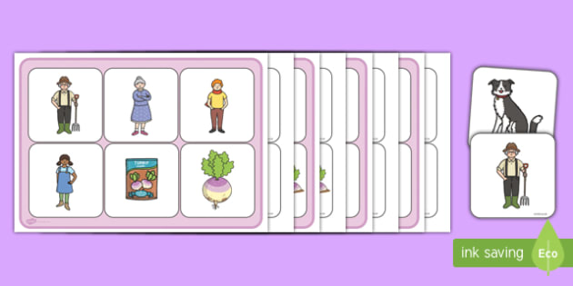 Enormous Turnip Matching Cards and Board - the enormous turnip, enormous turnip matching game, enormous turnip picture matching activity, sen story game