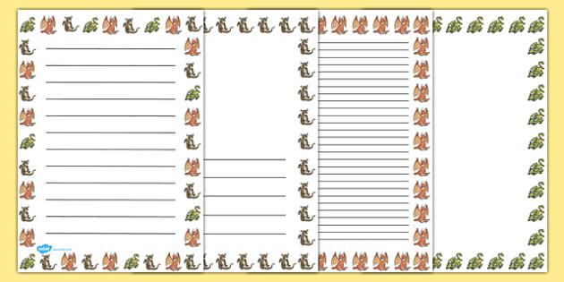 Dragon Page Borders - page borders, dragon, border, page, dragons