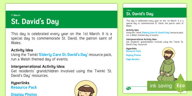 St. David's Day Adult Guidance - Calendar Planning March 2017, Activity Co-ordinators, Support, Elderly Care, Care Homes, Ideas, St.