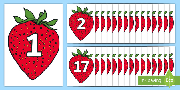 Numbers 0-31 on Strawberries - 0-31, foundation stage numeracy, Number recognition, Number flashcards, counting, number frieze, Display numbers, number posters