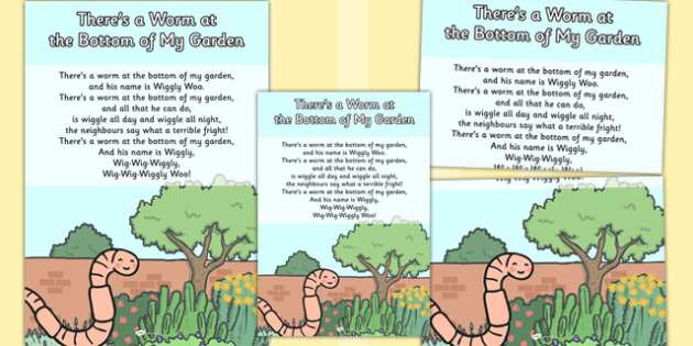 There's a Worm at the Bottom of My Garden Nursery Rhyme Poster