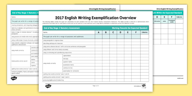 Year 6 Writing Exemplification Checklist Overview - test, diagnostic, summative, formative