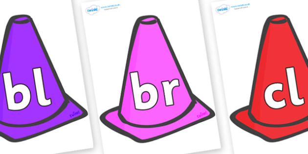 Initial Letter Blends on Cones - Initial Letters, initial letter, letter blend, letter blends, consonant, consonants, digraph, trigraph, literacy, alphabet, letters, foundation stage literacy
