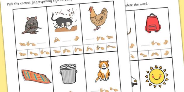British Sign Language Left Handed CVC Missing Sign Worksheet