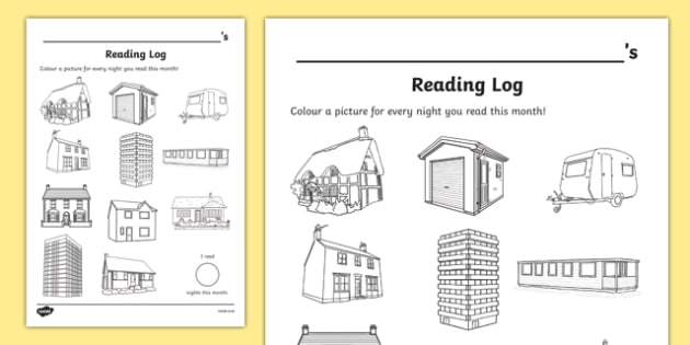 Houses and Homes Themed Colour In Reading Log - monitor, diary, record, home learning, independent, early years, ks1, key stage 1, reward, award, english, books, library