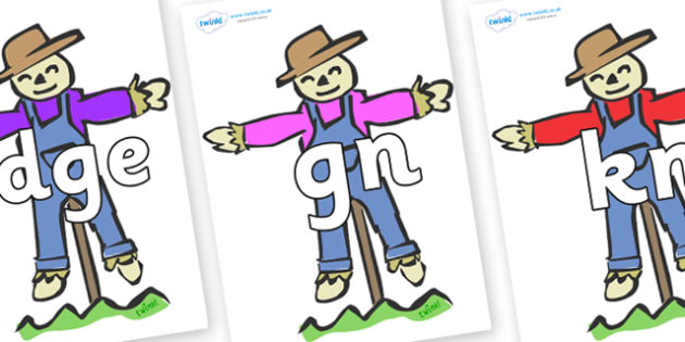 Silent Letters on Scarecrows - Silent Letters, silent letter, letter blend, consonant, consonants, digraph, trigraph, A-Z letters, literacy, alphabet, letters, alternative sounds