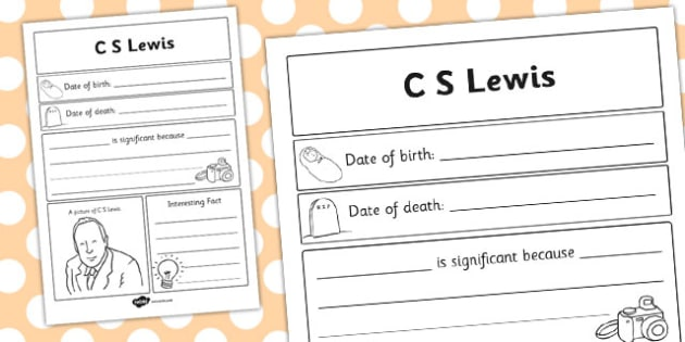 C S Lewis Significant Individual Writing Frame - writing frame