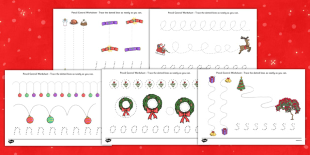 Christmas Pencil Control Worksheets - nz, new zealand, christmas, pencil control, worksheets