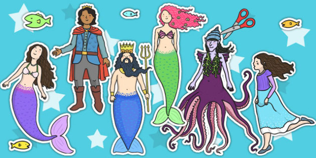 The Little Mermaid Story Cut Outs - cut outs, display, story book