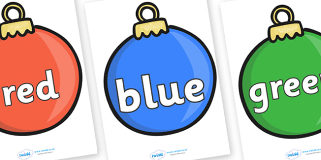 Colour Words on Baubles - Christmas, xmas, colour words, bauble, colour display, colour posters, colour, display, poster, posters, colour mixing, black, white, red, green, blue, yellow, orange, purple, pink, brown
