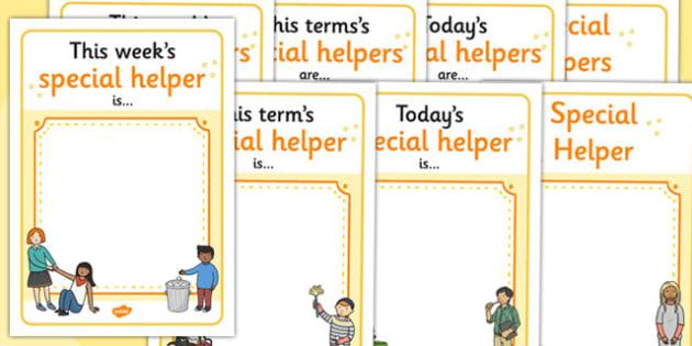 Classroom Monitor Display Signs (Special Helper) - Monitor, termly job signs, term, monitors, classroom monitors, pupil jobs, helpers, Teaching Labels