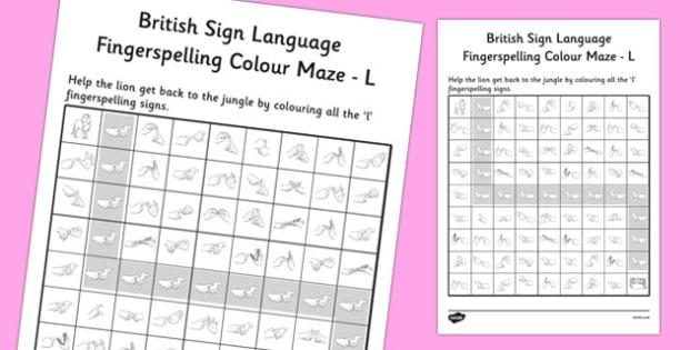 British Sign Language Fingerspelling Colour Maze L - colour, maze