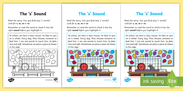 Northern Ireland Linguistic Phonics Stage 5 and 6 Phase 3a, 's' Sound Activity Sheet - Linguistic Phonics, Phase 3a, Northern Ireland, 's' sound, sound search, text, Worksheet