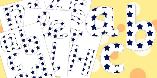 White and Navy Stars Display Lettering - display lettering, display