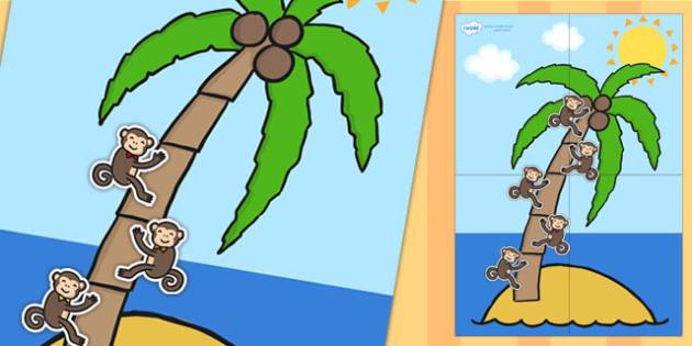 Large Palm Tree and Monkey 5 Step Reward Chart - reward chart, reward, chart, themed reward chart, palm tree, monkey, 5 step reward chart, 5 step