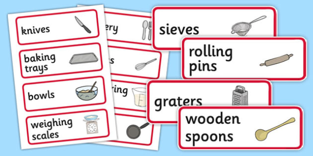 Cooking Utensils Labels - cooking, utensils, labels, cook, food, spoon, knife, fork, bowl, pot