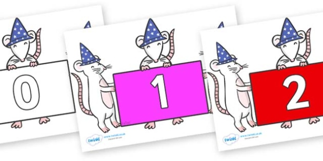 Numbers 0-31 on Magic Mice - 0-31, foundation stage numeracy, Number recognition, Number flashcards, counting, number frieze, Display numbers, number posters