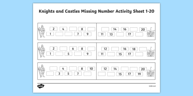 Knights and Castles Missing Number Worksheet 1-20 - numbers