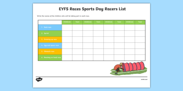 EYFS Races Sports Day Racers List