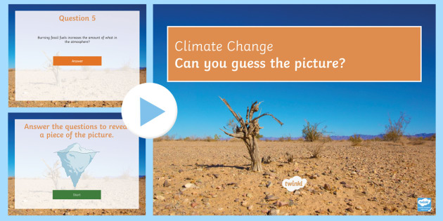 Climate Change Quiz PowerPoint - PowerPoint Quiz, Climate Change, Carbon Dioxide, Greenhouse Gases, Weather Patterns, Global Warming